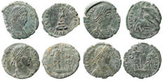 Roman Empire - Four roman bronze coins lot. Constantius II (3) and Constans AE16-18 from Arles mint.