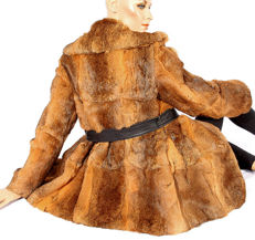 Snug, soft fur jacket rabbit fur with leather belt, blazer, fur