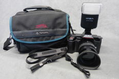 Minolta 5000 AF, single-lens reflex with carrying strap, Body nº 52201447  Body + Cap Lens is an AF Zoom 35-80 mm 1:4 – 5.6 + UV filter, lens with lens cap and lens hood Lens is clear and clean Minolta Flash 132 x = Okay with diffuser Plus a Samsonite tre