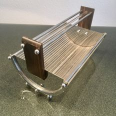 Chrome-plated bread basket made of glass rods, original Art Deco