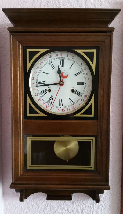 Wall clock Meteo - Dark stained oak - 2nd half of the century