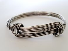Solid silver braided loose bracelet
