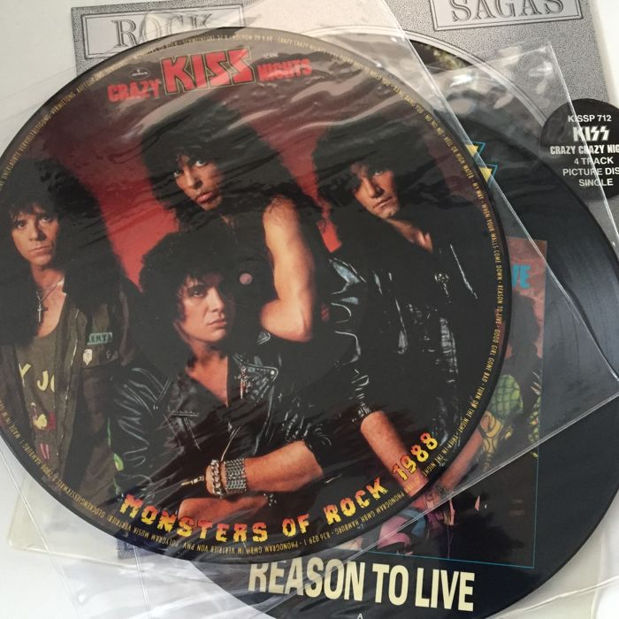 Kiss, lot of 4 original picture disc records including Crazy Nights Monster Of Rock Edition