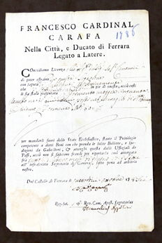 Goods export license with the signature of Italian Cardinal Francesco Carafa - 1786