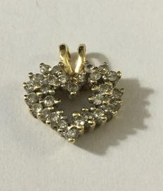 14 kt/585 yellow-gold heart-shaped pendant with 28 brilliant-cut diamonds of 0.3 ct in total