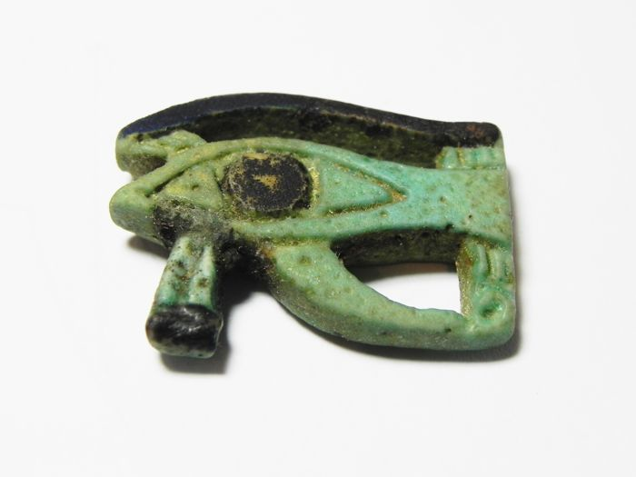 Large Egyptian faience Eye of Horus Amulet - 30 x 23  mm