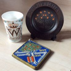 Queen Wilhelmina 40 and 50-year Jubilee - Earthenware Tile, Copper Plate and Cup