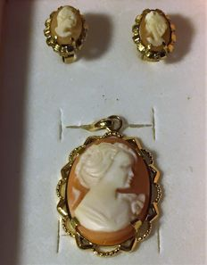 14 kt/585 gold set - Beautiful profile on genuine Cameo **1950-70**