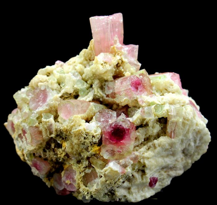 Top Grade Natural Pink Tourmaline Crystals with Lepidolite on Matrix - 71 x 61 x 44 mm - 167 gm