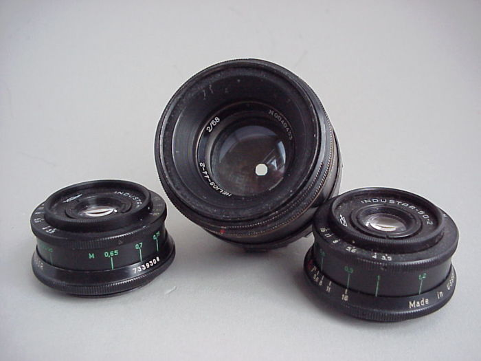 Three Russian lenses, namely a Helios-44-2 2/58 and twice