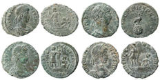 Roman Empire - Four roman bronze coins lot. Constans (3) and Constantius II AE16-18 from Arles mint.