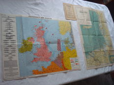 "Third Reich; Lot with 2 x old original maps from 1940, ""Kriegskarte der Nordsee"" and Die Küste der Deutschen Nordsee"" WW2"