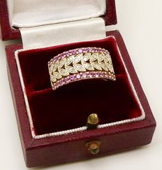 "Quality gold ring by ""P.J."" natural hot Pink Ceylon Sapphire & Diamonds - NO reserve"