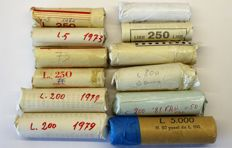 Republic of Italy - 5, 10, 100, 200 Lira coins from 1971/85 - Lot of 580 coins in rolls