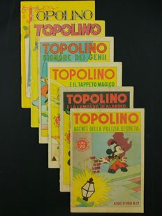 Topolino Albi D'Oro - 6x comic albums - issues nos. 21, 23, 25, 27, 49, 55 (1946-47)