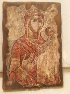 Religious Icon of the Virgin and Child, inlay on wood - France- About 1940/1950.