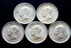 Spain - Alfonso XIII - Lot of 5 silver 50 cents coins from the year 1926.