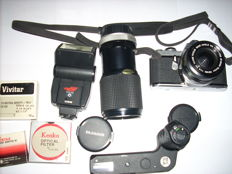 Asahi Pentax ME with two objectives, motor and other accessories