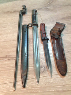 Lot of WWII Mauser Bayonet VZ–24 with Sheath!  -Marked -T and Mosin Nagant bayonet and Samopal Bayonet