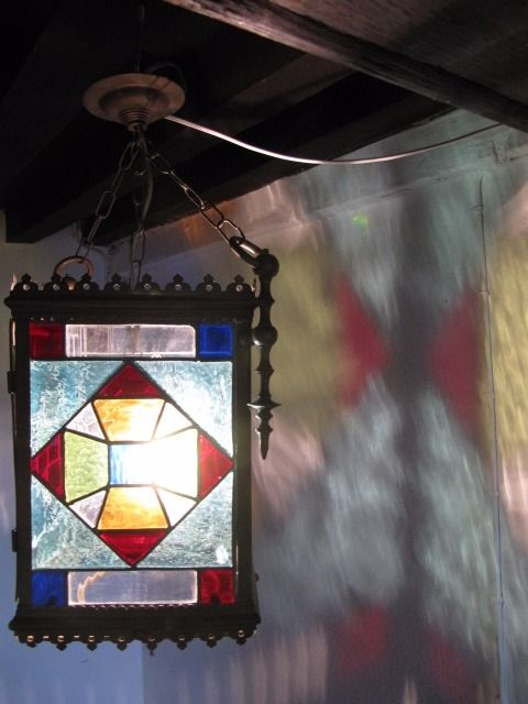 Beautiful stained glass hall lamp - circa 1920 - France