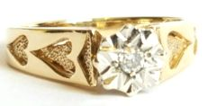 Women's  9kt yellow gold 0.03ct  diamond  vintage ring  3.250g  size EU 55 1/4  USA 7 1/2  UK O