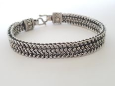 Solid 925 Silver braided bracelet - length 22 cm