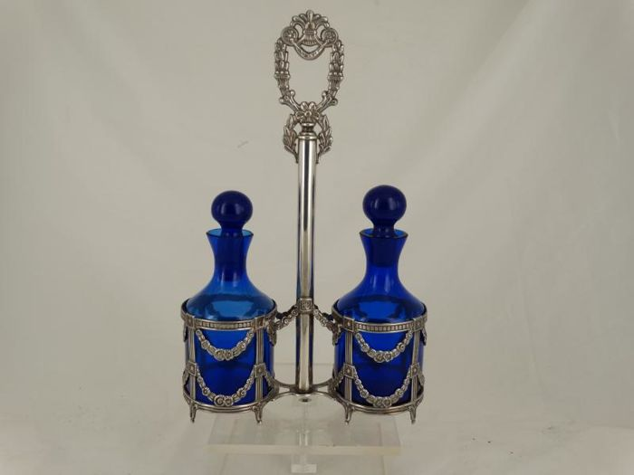 Oil and vinegar set on silver holder, Spain 1934 - present