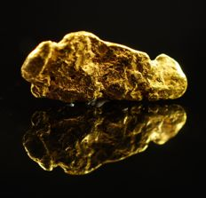 Gold nugget - genuine natural gold nugget - 1,0 x 0,4 x 0,1 cm - 1,327 ct