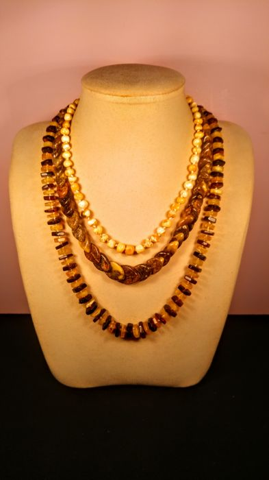 Set of 3 necklaces ca. 1970's made of 100% Genuine Baltic Amber, 68 grams