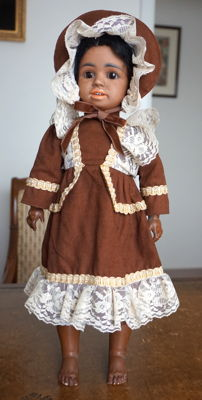 "Very Rare 16"" (Size 5) Antique Ethnic Simon Halbig 1358 Beautiful Bisque Doll"