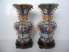 Two cloisonné 'gu' vases - China - second half of the 20th century