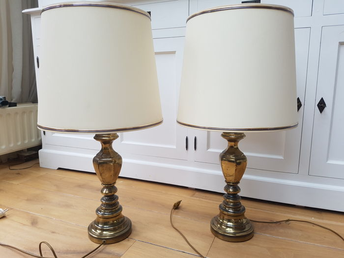 Designer unknown set of large brass table lamps in neo baroque designer unknown set of large brass table lamps in neo baroque style 1960s aloadofball Choice Image