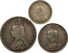United kingdom - Shilling 1887, Florin 1887 and Double Florin 1890 Victoria (3 coins) - silver