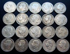 Spain - Alfonso XII - Lot of 20 silver coins of 50 cents from the year 1880.