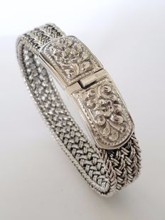 925 silver solid braided bracelet with flower pattern - length 20 cm
