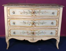 A polychrome painted commode with marbled top, Urbino Marche Italy, 19th century