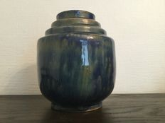 Roger Guerin- Blue dripping glaze vase with iridescent effect