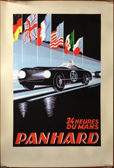 24 hours of le Mans Panhard 1950 - Poster 69 x 100 cm - print around 1990