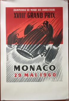 13th Grand Prix Automobile of Monaco 1960 - Poster 68 x 100 cm - printed in 1994