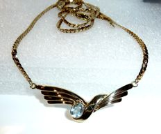 Choker necklace in 8 kt (333‰) gold with a faceted blue topaz -- length: approx. 44 cm