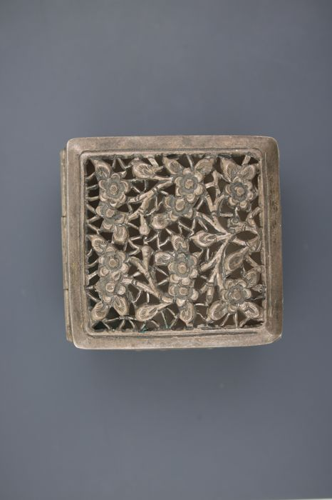 Antique silver filigree tin ca. 1900, very rare, probably China
