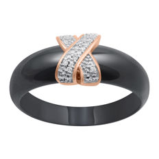 Brand new Trendy fashion 14Kt. pink gold with ceramic band ring set with diamonds 0.04ct.,GH colour and P1 clarity ,Size P/56