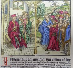 Livius (Livy) - Rubricated incunabula woodcut leaf - Gaius Canuleius and the tribune on the plebs - 1505