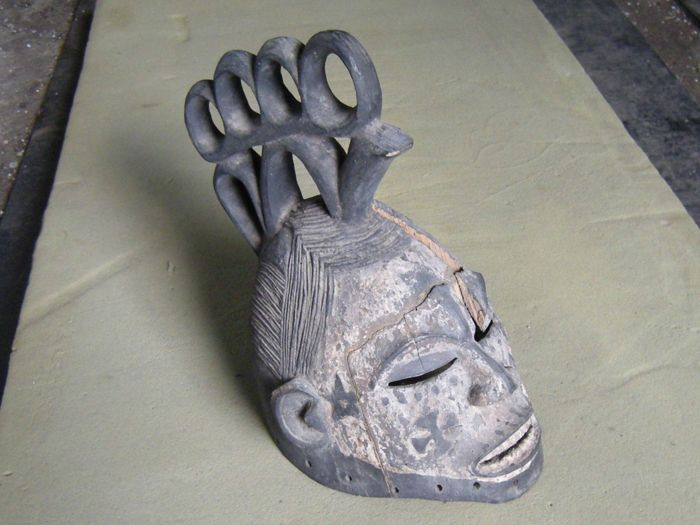 African  Mask, Wood Carved Adorned Old