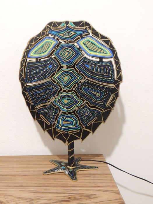 Hand Painted Wrought Iron Sea Turtle Shaped Table Lamp Roberto