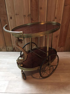 A beautiful serving trolley, tea trolley, with dolphin Empire-style ornament -England - Middle of the 20th century