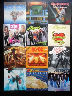 12 original 45rpm Hard Rock : Maiden, Poison, Juda's Priest, Anthrax and many more