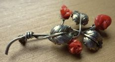 Antique women's brooch 1920 coral rose 6 x 4 cm 800 silver