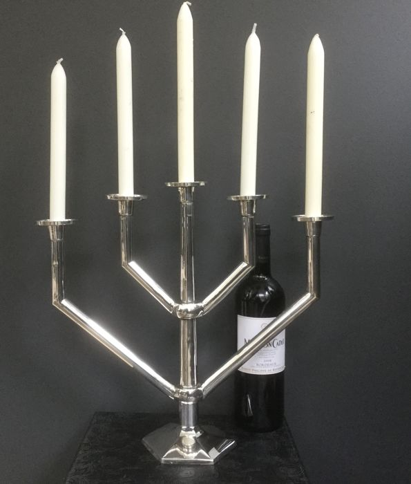 Silver Plated tube-design five-holder candelabrum, Hagenauer/Chermayeff/Bauhaus-style, Austin & Dodson & Co, Sheffield, ca 1920