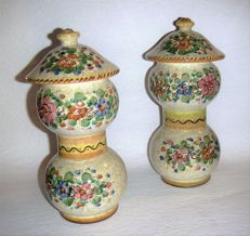 Pair of majolica small trees, entirely hand-made and hand-painted